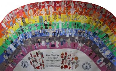St Cedd's School pupils show support to the NHS and Key Workers with rainbow made of self-portraits